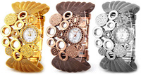 1PCS waterproof Fashion Flower Diamonds and Loops Design Mesh Belt Rhinestone Women's Casual Dress Gift Bracelet Bangle Watch Z6