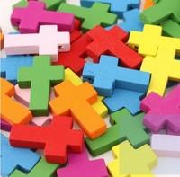 Wooden Cross Pendants Fit Diy Bracelet or Neckalce Accessory Multicolour