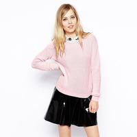 L27512 2014 winter new European style sweet pink woman sweater lapel mori girl sweater women's knitted cute sweater