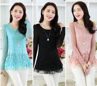 Promotion 2014 New Autumn Women Lace Blouse Plus Size M- XXL Long Sleeve Slim Women Chiffon Blouse Shirt Crochet  Lace OL shirts