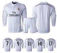 Top thailand 2015 Real Madrid Home Long Sleeve Soccer Jersey + short Kits, 14-15 JAMES RONALDO KROOS BALE RAMOS Soccer uniform