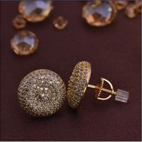 LSE853 Copper zircon top earring men screw back stub earrings factory low price , free shipping