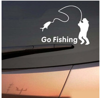 2 pieces go fishing  funny Car Window stickers white