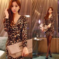 2014 free shipping new arrive high quality lady nightclub sexy V-neck leopard dress women slim fashion dress 9802 M,L