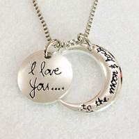 2014 Fashion I Love You To The Moon and Back Silver Gold Pendant Necklace Women Girls Gift Statement Necklace Jewelry 12Pcs/Lot