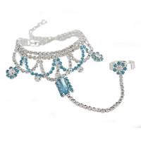 2014 New Elegant Bohemia Women Unique Rhinestone Square Small Flower Chain Women Bracelets Bangles,Wedding Jewelry Free shipping