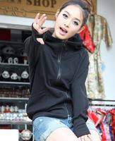 2014 New Korean casual Women Slim Zipper Hooded Cardigan Sweater Coat Female finger Sport Sweatshirt  Hoodies