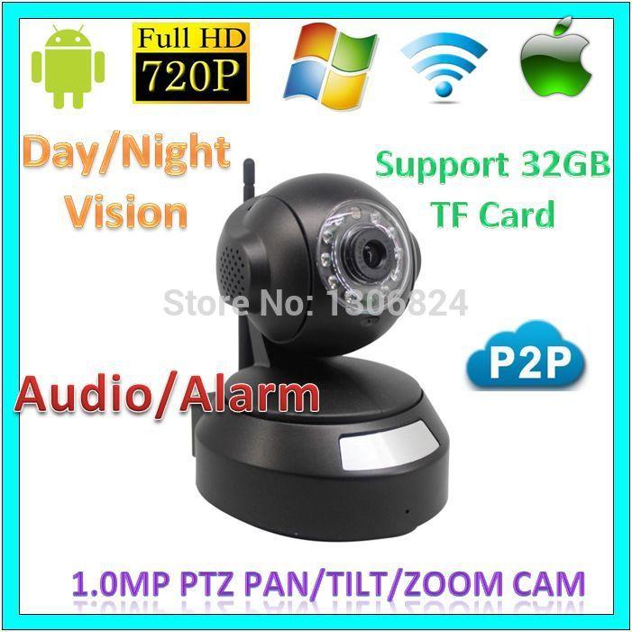Onvif Security 720p wifi p2p PTZ Network IP Cameras CCTV Audio Alarm Wireless 1.0MegaPixel Baby Moniter Support TF Card WebCam(China (Mainland))