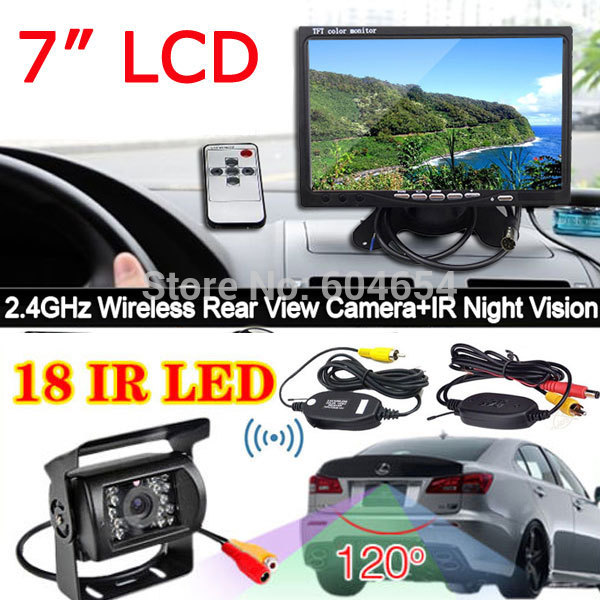 """7"""" LCD Monitor Car Rear View System +18LED Night Vision Wireless Reversing Car Reverse Backup Camera for Bus/Long Truck/Trailer(China (Mainland))"""