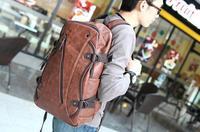 2014 New Hot Sale Men's Leather Brown Travel Bags School Backpacks Vintage Tactical Fashion Designer Hiking Camping Bike Bag