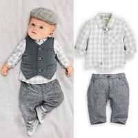 BCS082 Retail 2014 new long sleeve children sets gentleman baby's suit 3pcs a set newborn baby boys clothing set free shipping