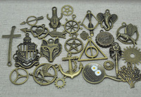 50pattern Mixed 50pcs/Lot Antique Bronze Harry Potter Hunger Games Deathly Hallows Supernatural Amulet Charm Pendants