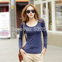 [No.24]Autumn new arrival basic shirt for women Korean style O-neck solid t shirt Fashion slim full sleeve women's t-shirt