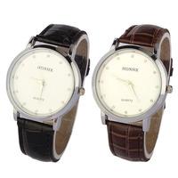 Superb! Men Leatheroid Stainless Steel Case White Dial Quartz Watch Watches Alipower
