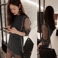 2014 free shipping new arrive high quality lady Hepburn Wind classic long-sleeved Polka Dot Dress women dress 8605