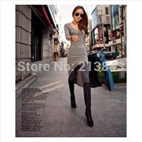 2014 Autumn & Winter Sexy Swallow-tailed Asymmetrical Long Sleeve Render Dress Wool Flock OL Dress Free Size 1PC Free Shipping