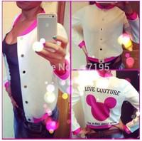 new women coat pink mouse 3d print women jacket desigual sport jackets fashion baseball jacket o-neck outwear free shipping