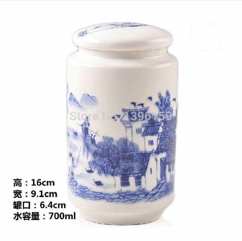 Água pessoas pintura latas de chá em cerâmica vasilha Cafeteira Sugar Bowl tempero latas de 700ml(China (Mainland))