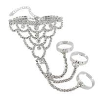2014 New Elegant Luxury White Rhinestone Silver Multilayer Flower Chain Women Bracelets Bangles,Wedding Jewelry Free shipping