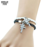 New Double Cross Leather Bracelet Bangle Charm Bracelet Couples Bracelet Fashion Jewelry Bracelet For Women Men