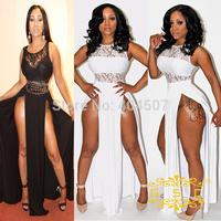 New 2014 summer Sexy Evening long dress Sleeveless Two Side Split Lace Maxi Dress Women club wear