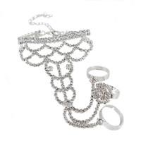 2014 New Elegant Luxury White Rhinestone Party Silver Round Flower Chain Women Bracelets Bangles,Wedding Jewelry Free shipping