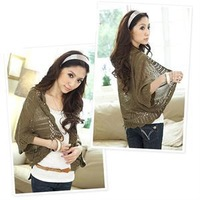 FA High Quality Thin Loose Cardigan Sweaters Elegant Batwing Sleeve Crochet Hollow Out Open Stitch Solid Fall Sweater 6Colors AF
