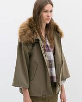 2014 Winter Women's parkas coat with fur cap slim jacket coats for women desigual ladies autumn casual detachable parka jackets