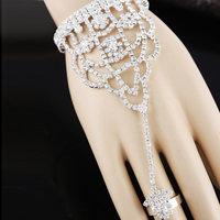 2014 New Elegant Luxury Acrylic Rhinestone Party Silver Flower Chain Women Bracelets Bangles Sets,Wedding Jewelry Free shipping