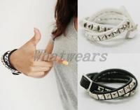 Free Shipping 2Color Black and White Women Punk Rivet Fashion Multi Wrap PU Leather Cuff Bracelet [50-1053]