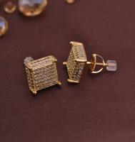 LSE849 Copper zircon screw men stud earrings gold plating , free shipping