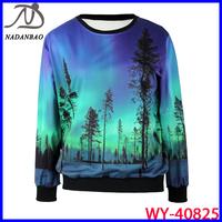 Autumn and Winter 2014 Fashion Women Hoody Galaxy Aurora 3D Printed Black Milk Women Sweatshirt WY-40825
