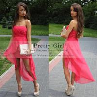 2015 Vestido De Gala Scoop Off Shoulder Asymmetrical Mid Calf Red Pageant Dress Modest Prom Dress New Arrival Pg343