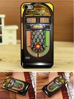 10PCS jukebox wurlitzer style Print On Pu Leather Hard Black Cover Case  for iphone 4 4s 4g 4th