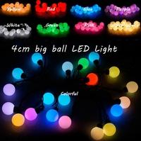 New 5M Black String 20pcs 4cm Big Ball LED Light , Waterproof Outdoor Xmas Lights , 9 Colors ,  3pcs/Lot , Free drop shipping