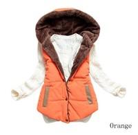 2014 Free Shipping Women's Cotton Vest Winter Hooded Zip Up Thicken Warm Down Waistcoat Cotton M-XXXL