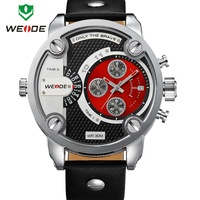 Japan MIYOTA Movement Sports Diving Watch 30 Meter Waterproof Military Army Genuine Leather Strap Watch Weide Men Wristwatch
