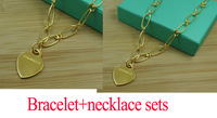 2014 New fashion 18k yellow gold plated lovely heart logo print good  pendant jewelry set bracelet+necklace sets  ss06