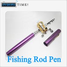 Hot Sell Vara De Pesca 6 Colors Mini Aluminum Alloy Sea Fishing Tackle Pole Pen ,Pocket Pen Fishing Rod & Reel Free Shipping