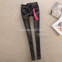 2014 single trade Hitz Korean tide black grey slim high waisted pencil jeans