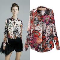 New Casual Long Sleeve Blouses Flower and Retro Chiffon Printing Women Shirt S M L OL8240