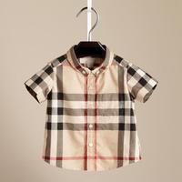 2014 new summer classic Scottish plaid cotton shirt boys European style baby short-sleeved shirt male shirt costumes for kids
