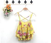 Free shipping! Women Sleeveless Top Ladies Spaghetti Strap Flower Floral Print Chiffon Crop Top Blouse