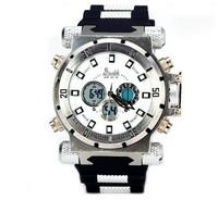 Unique Design D2watch 602 30 Meters Waterproof Watch Round Dial Double Display Rubber Strap Lightning Stopwatch Watch