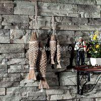 Mediterranean Ocean series hanging artware wood fish sculpture Antique home decoration presents crafts freeshipping