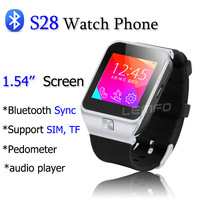 S28 Smart Watch Phone 1.54'' MTK6260 Wireless Bluetooth Sync / SIM /TF Pedometer Smartwatch Sports Wristwatch For Android Phone