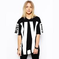 Wholesale hip-hop brand women T-shirt hot  sale 2014 fashion cotton loose shirt relax free  shipping