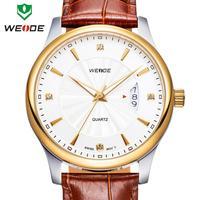 WEIDE watch quartz woman genuine leather straps calendar rose gold watches 30m waterproofing Japan movement wristwatch dropship