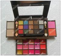 Free Shipping!Pro Cosmetics 34 Color Makeup Set 15 Eyeshadow +15colors lip Balm+2 blush+2 powder(2pcs/lot)