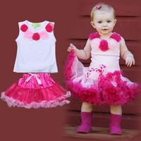 Free shipping 2014 summer new beautiful baby girl vest + tie yarn wreath skirt baby girls dress costumes for kids girls dresses